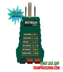 Thiết bị thử điện/ Phích cắm kiểm tra hệ thống dây điện Extech ET15 Receptacle Tester chính hãng Extech USA | TẠM HẾT HÀNG-ĐẶT HÀNG