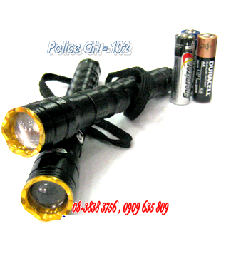 Đèn pin siêu sáng Police GH-102 bóng CREE LED và thấu kính lồi, loại nhỏ dài 20cm cầm tay | hàng có sẳn - Bảo hành 6 tháng
