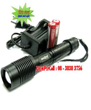 Đèn pin siêu sáng Huoyi HY-E7 (loại SD 2 pin18650) bóng CREE LED XML T6 thấu kính lồi | Bảo hành 1 năm-Hàng có sẳn