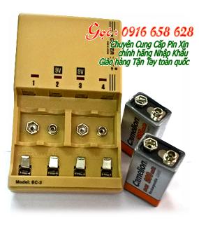 Bộ sạc pin 9V Super BC-3 (2Pin CameLion 9v200mAh) kèm sẳn 2 pin sạc Camelion NH-9V200mAh