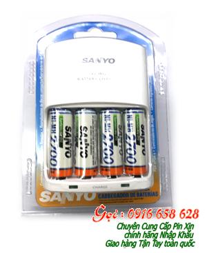 Bộ sạc pin AA Sanyo NC-MQN06U-4AA2700mAh, kèm sẳn 4 pin sạc Sanyo AA2700mAh 1.2v chính hãng