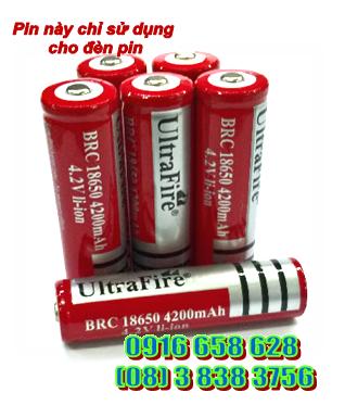 Pin sạc 4.2v Ultrafire BRC18650-4200mAh-4.2v Made in China, chỉ sử dụng cho đèn pin | HÀNG ĐANG CÓ SẲN